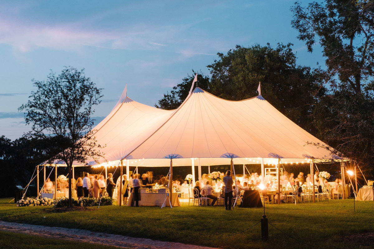 Sailcloth Wedding Tent Glowing at Night Boone Hall Plantation