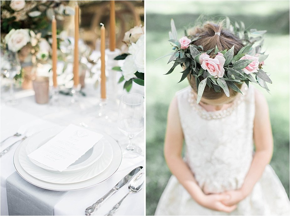 Flower Girl with Rose and Greenery Flower Crown