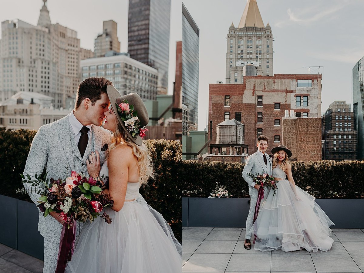 Hayley Paige and Conrad Louis get dressed up in wedding attire in New York city