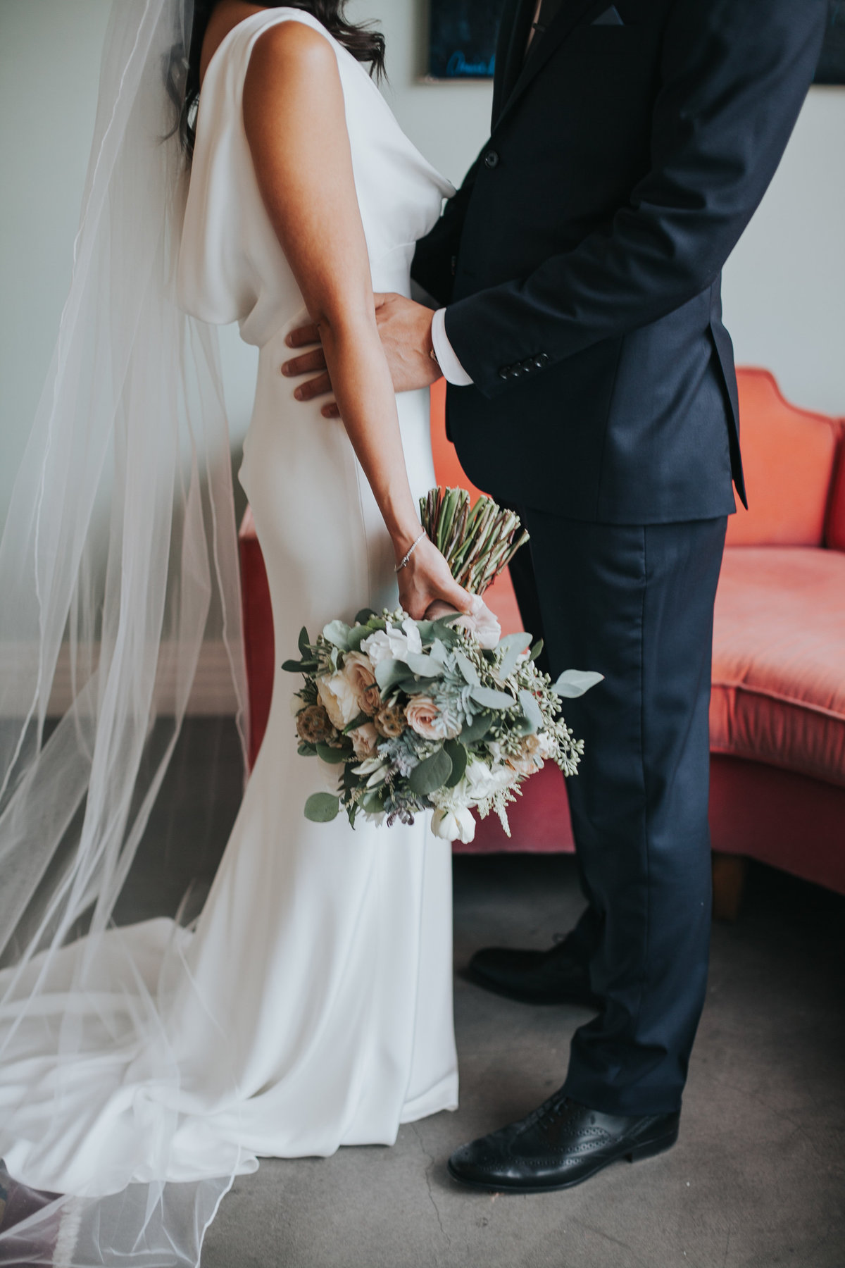 Modern bride and groom wedding portrait shot with white bridal bouquet at Fig House wedding in Los Angeles