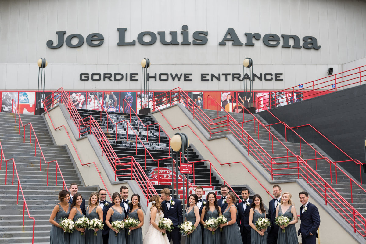 Wedding Party in front of the Joe Louis Arena in Detroit