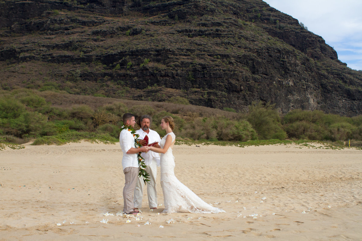Wedding elopement at Polihale, a Kauai beach.