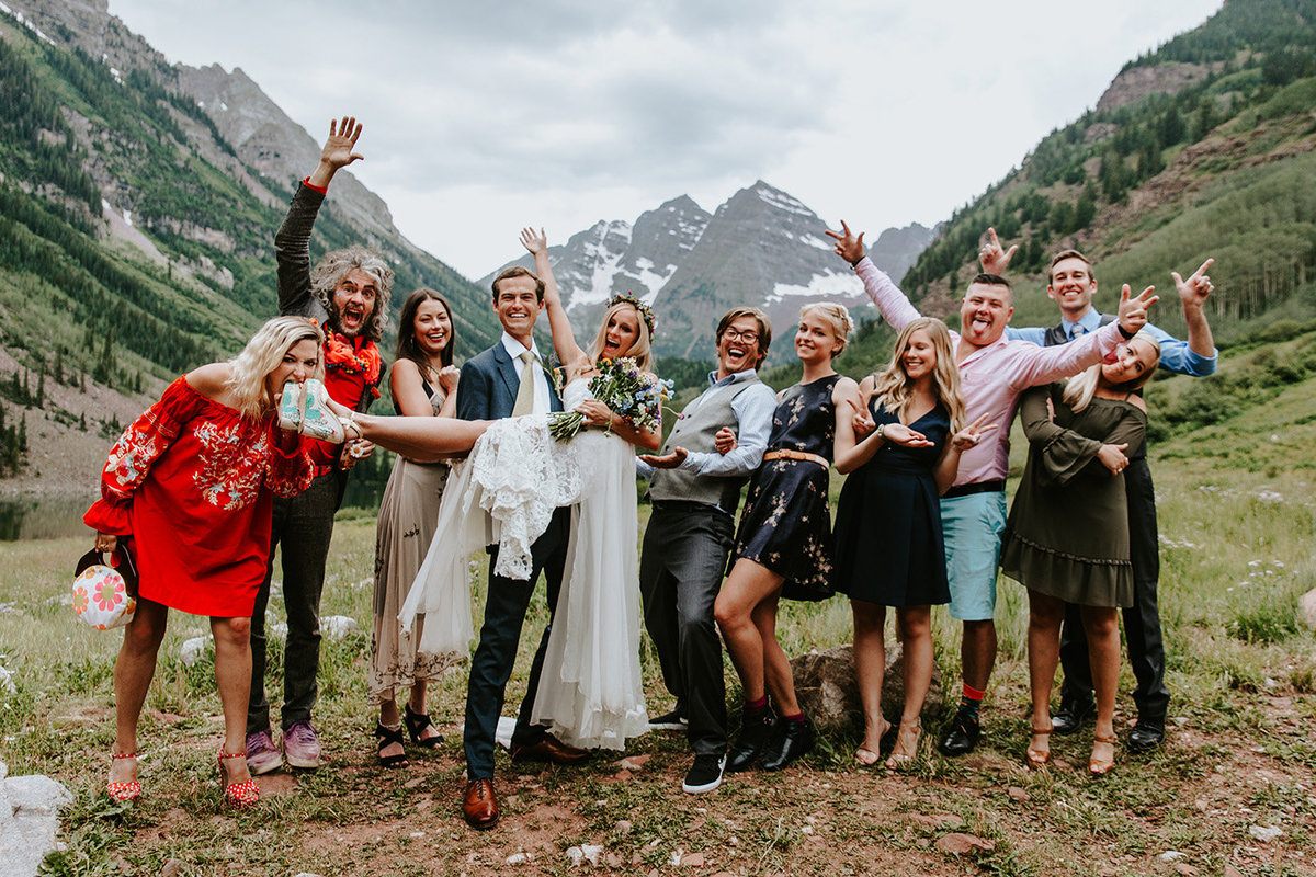wedding friends in front of Maroon Bells, Aspen, CO