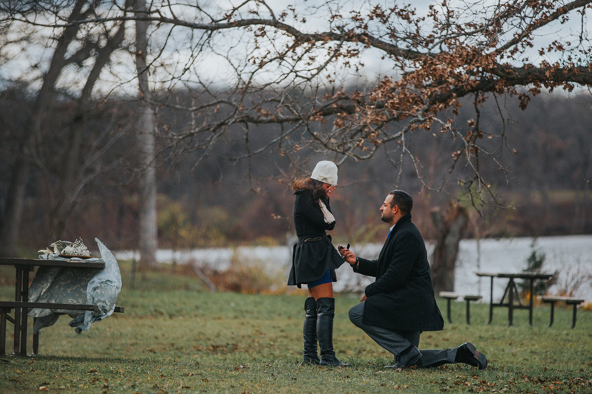 man proposing to girlfriend at rock cut state park in illinois