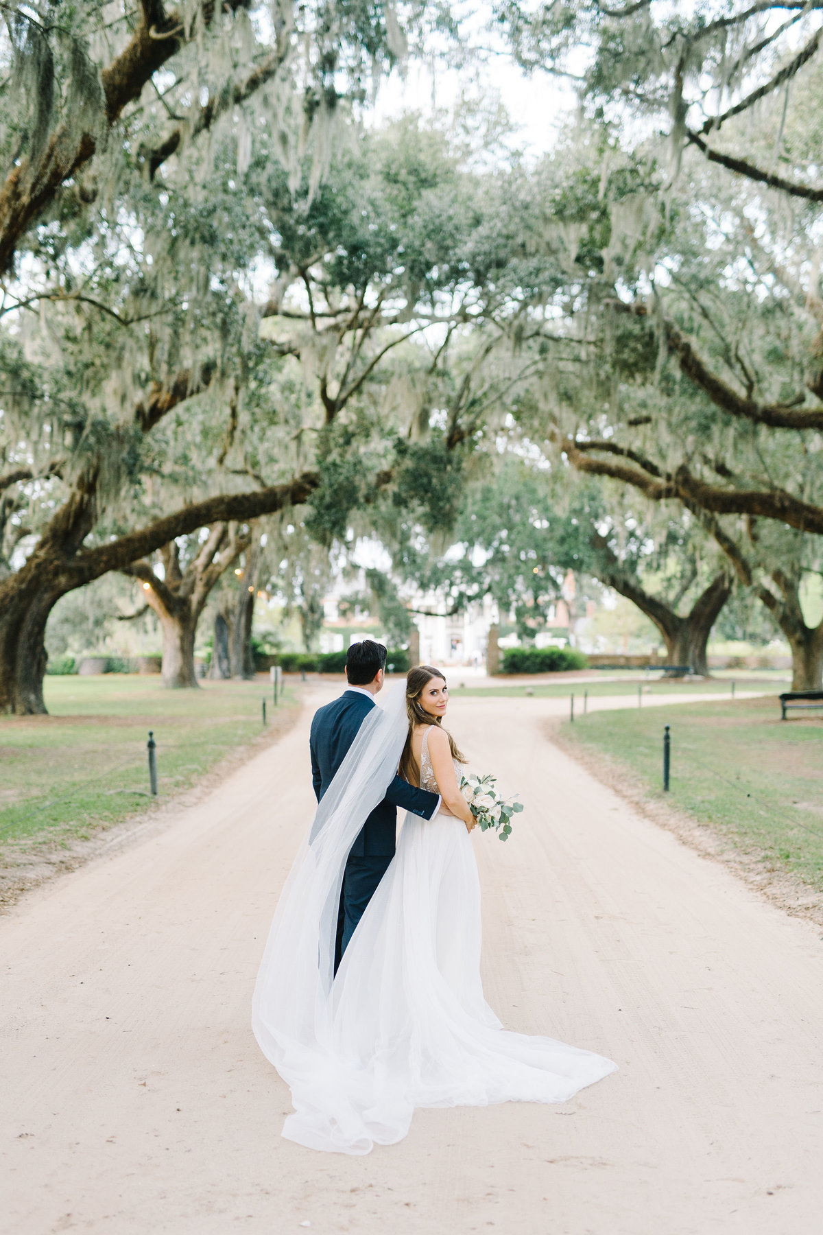 Bride and Groom Boone Hall Plantation Avenue of Oaks Wedding