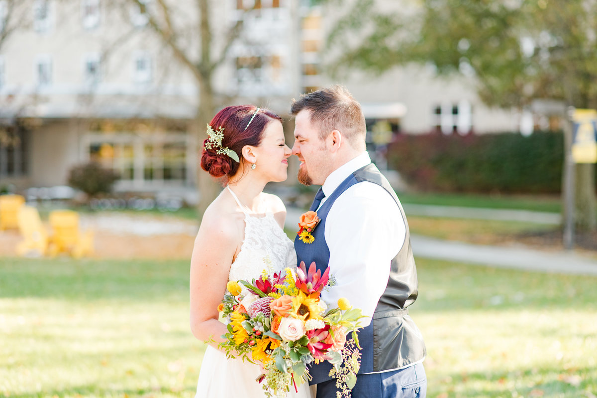 Couple Portraits Wedding Brewery Cincinnati Ohio Colorful Flowers-46