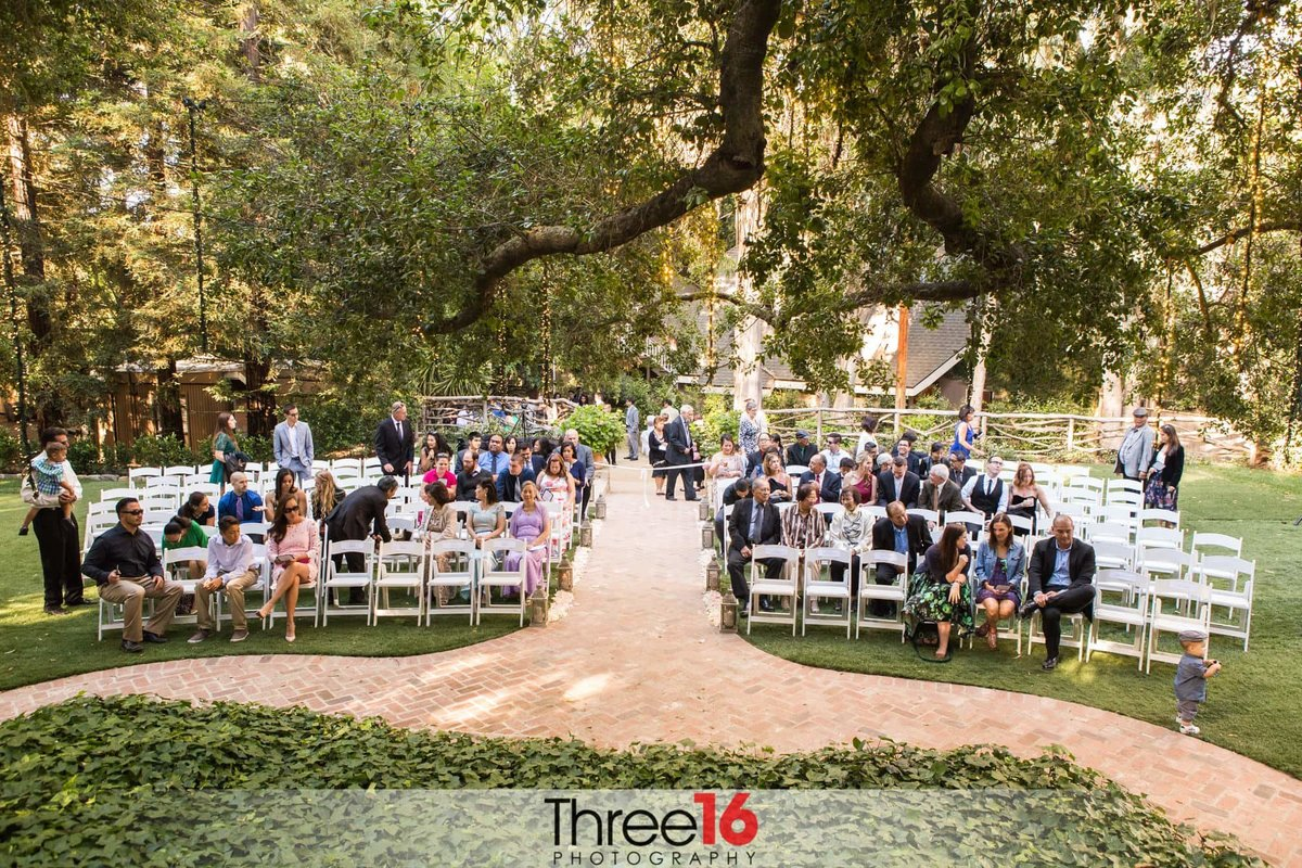 Guests taking their seats at a Calamigos Ranch wedding