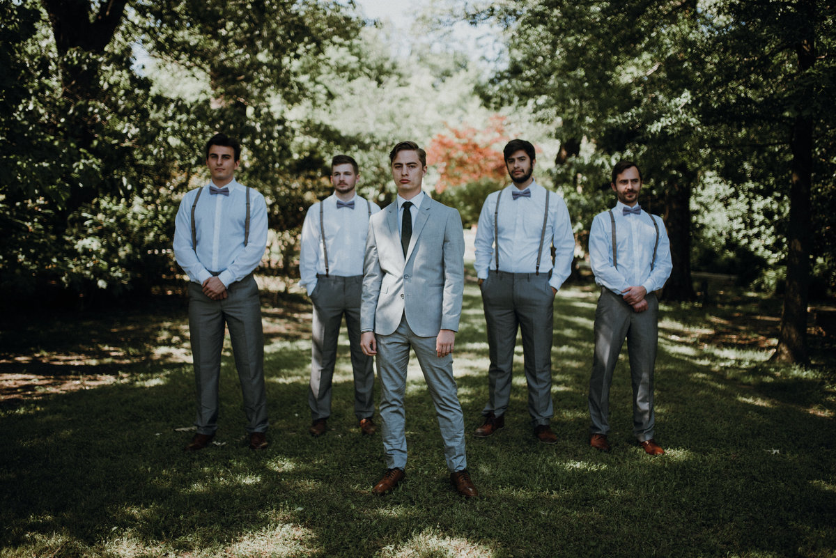 Groom and his groomsmen at a beautiful estate wedding in Arkanas