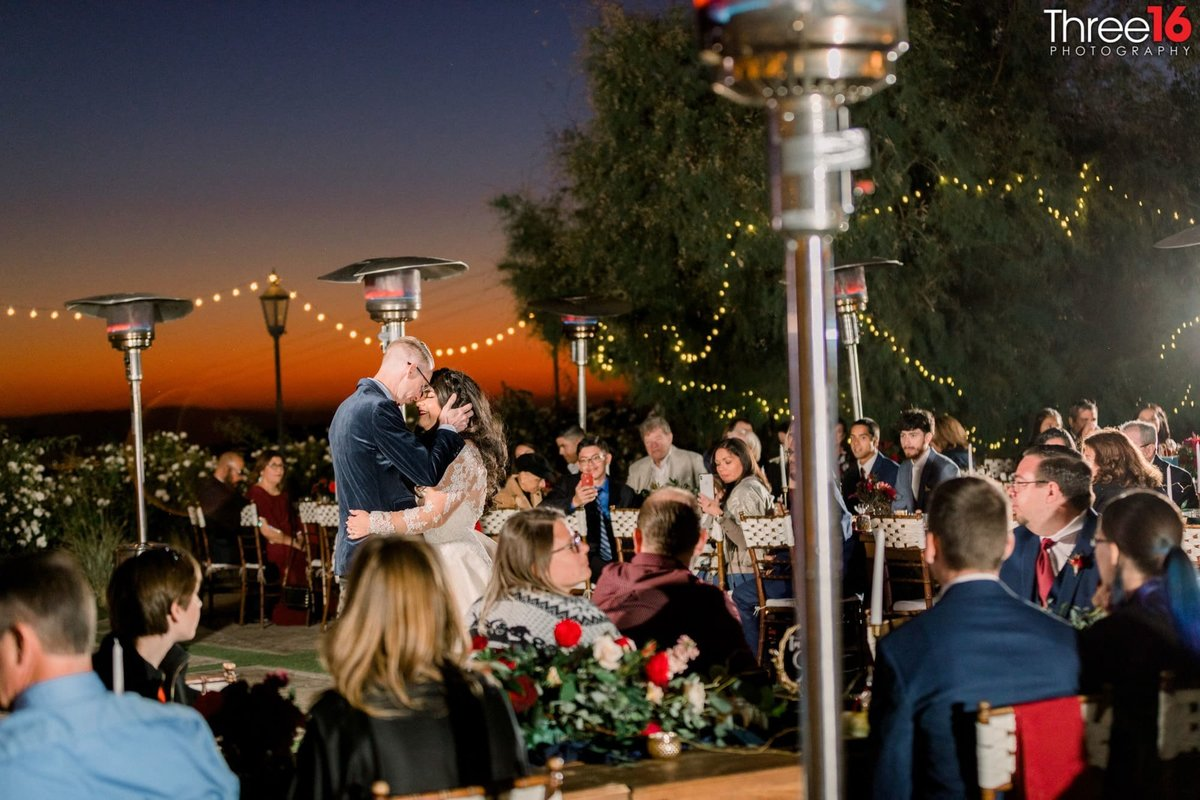 Bride and Grooms first dance under the stars at night