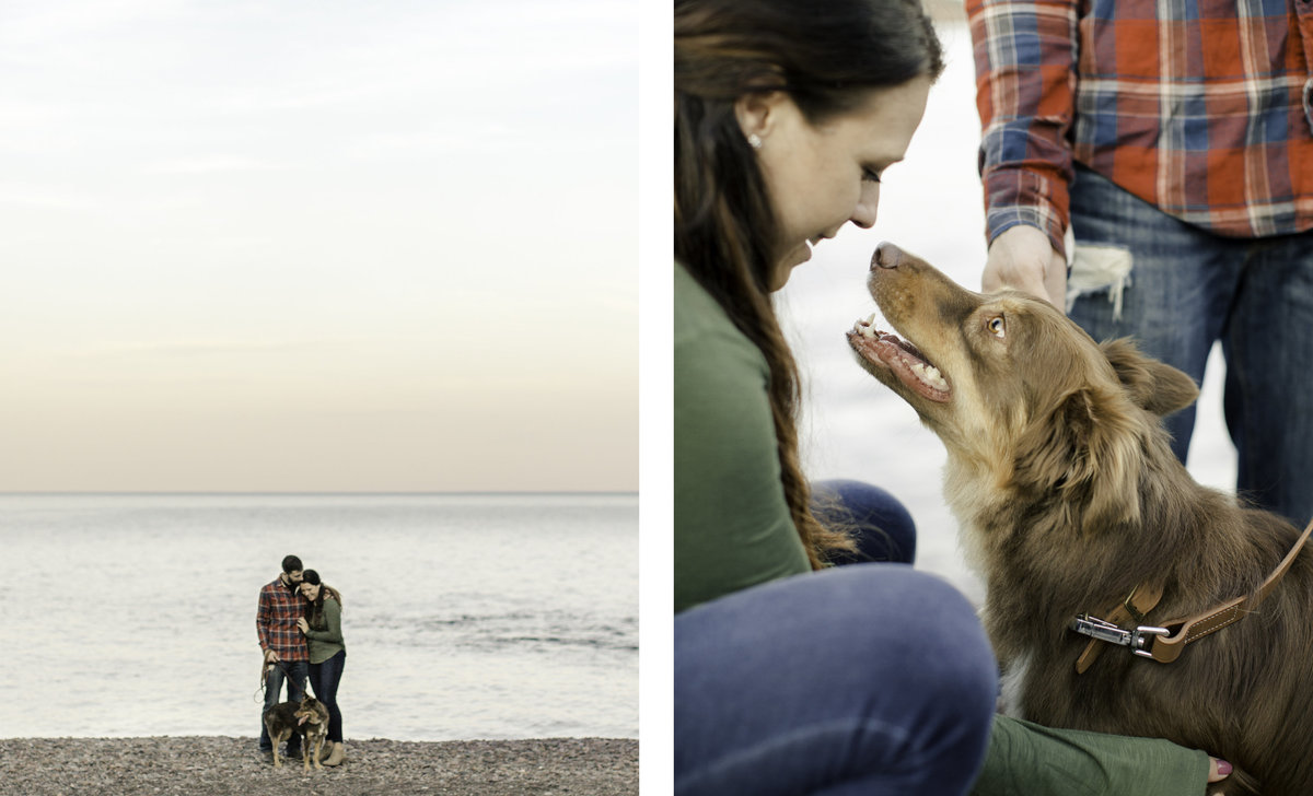 two images of engaged couple on the pebble beach looking out at sunset over lake superior and of girl giving kisses to her dog