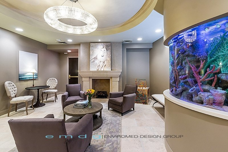 Dental office designs photos 1000 Sq Ft Green Dental Office Design Med Spa Medical Design Waiting Reception Fish Tank Fire Place Tile Floor Pinterest Dental Office Design Medical Office Design Interior Designer