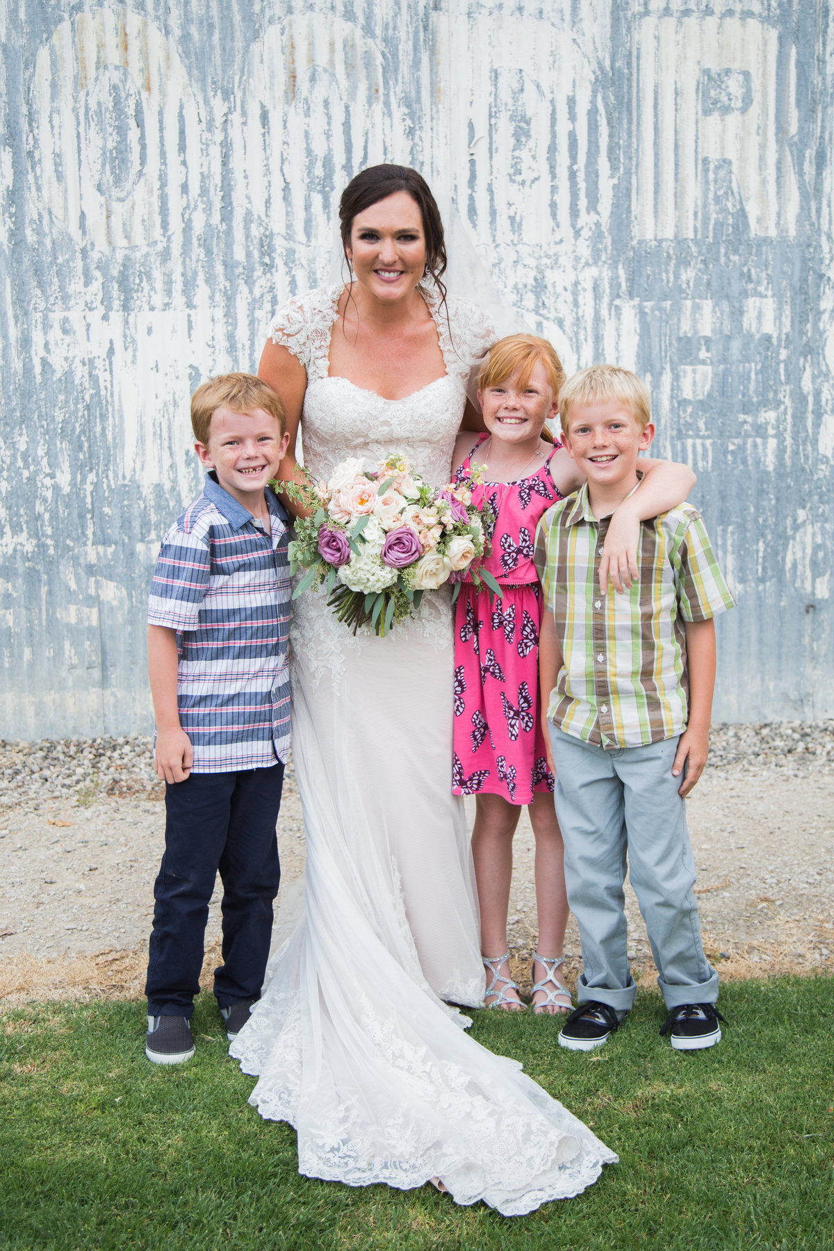Bride and kids at 1880 Union Hotel Wedding