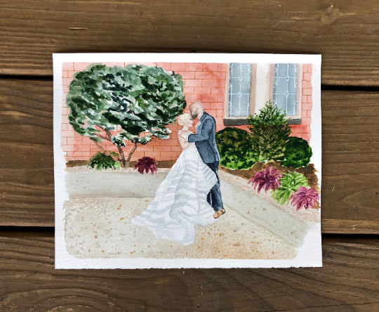 Custom First Anniversary Traditional Paper Gift Wedding Portrait Watercolor Wedding
