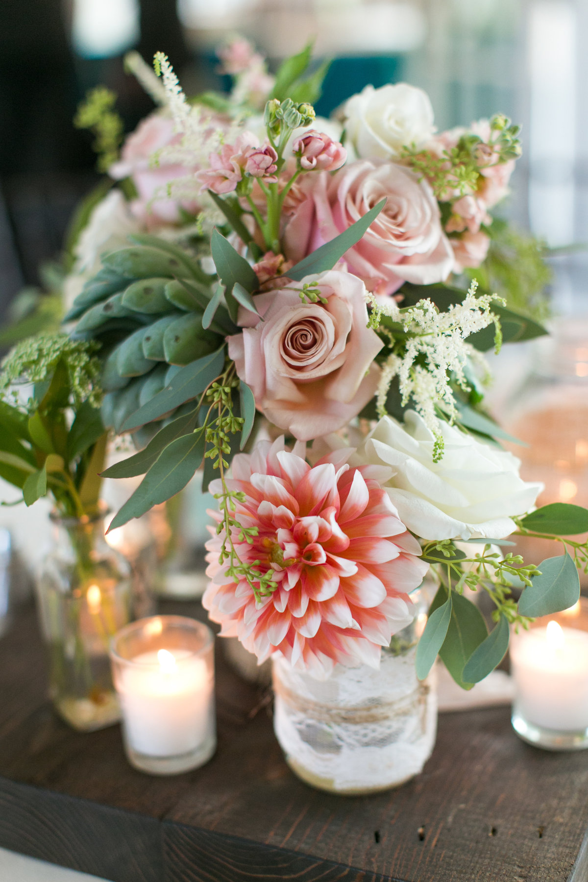 Maryland-Wedding-Photographer-Pink-Dahlia-rose-centerpiece-Chesapeake-Bay-Beach-Club