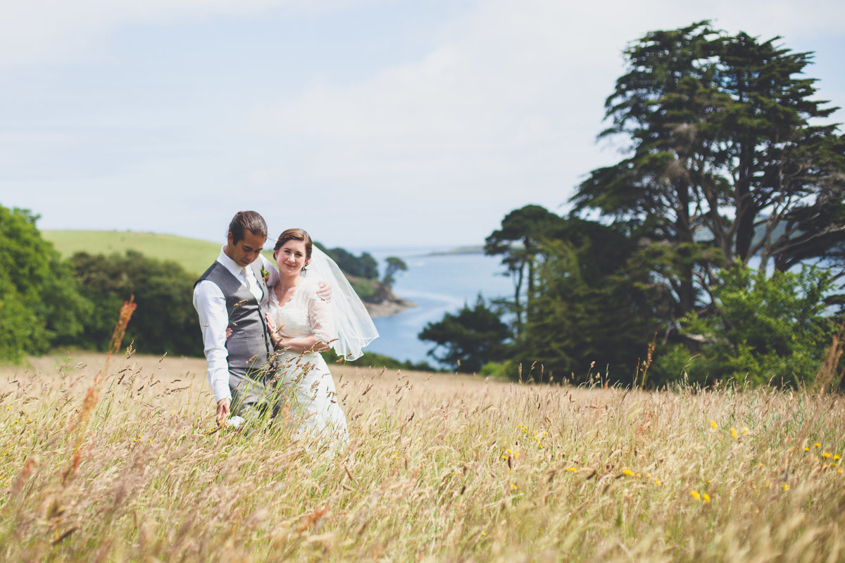 Helford River wedding bride groom
