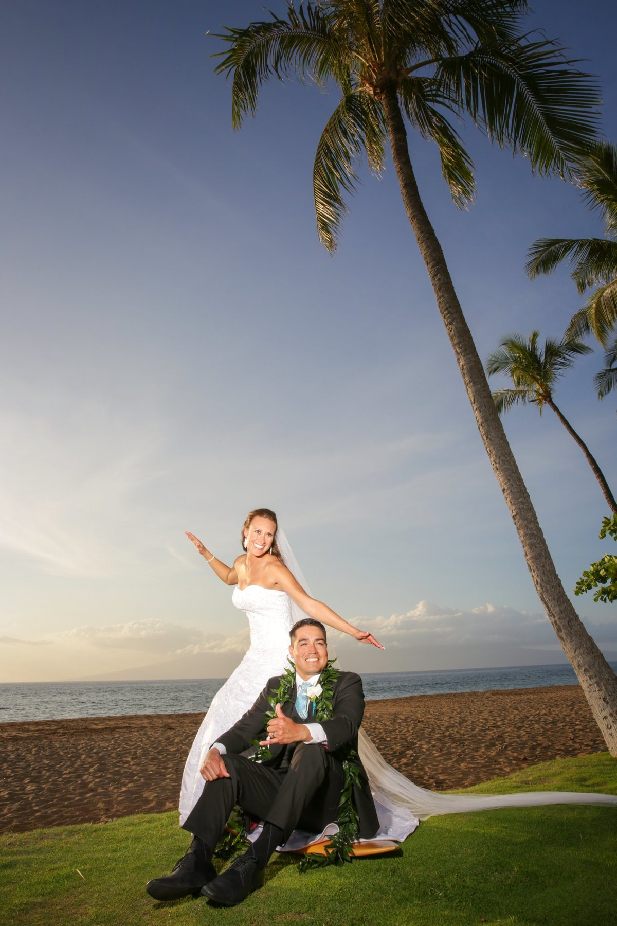 Maui Wedding Photography at The Westin Maui Resort and Spa with bride and groom at sunset