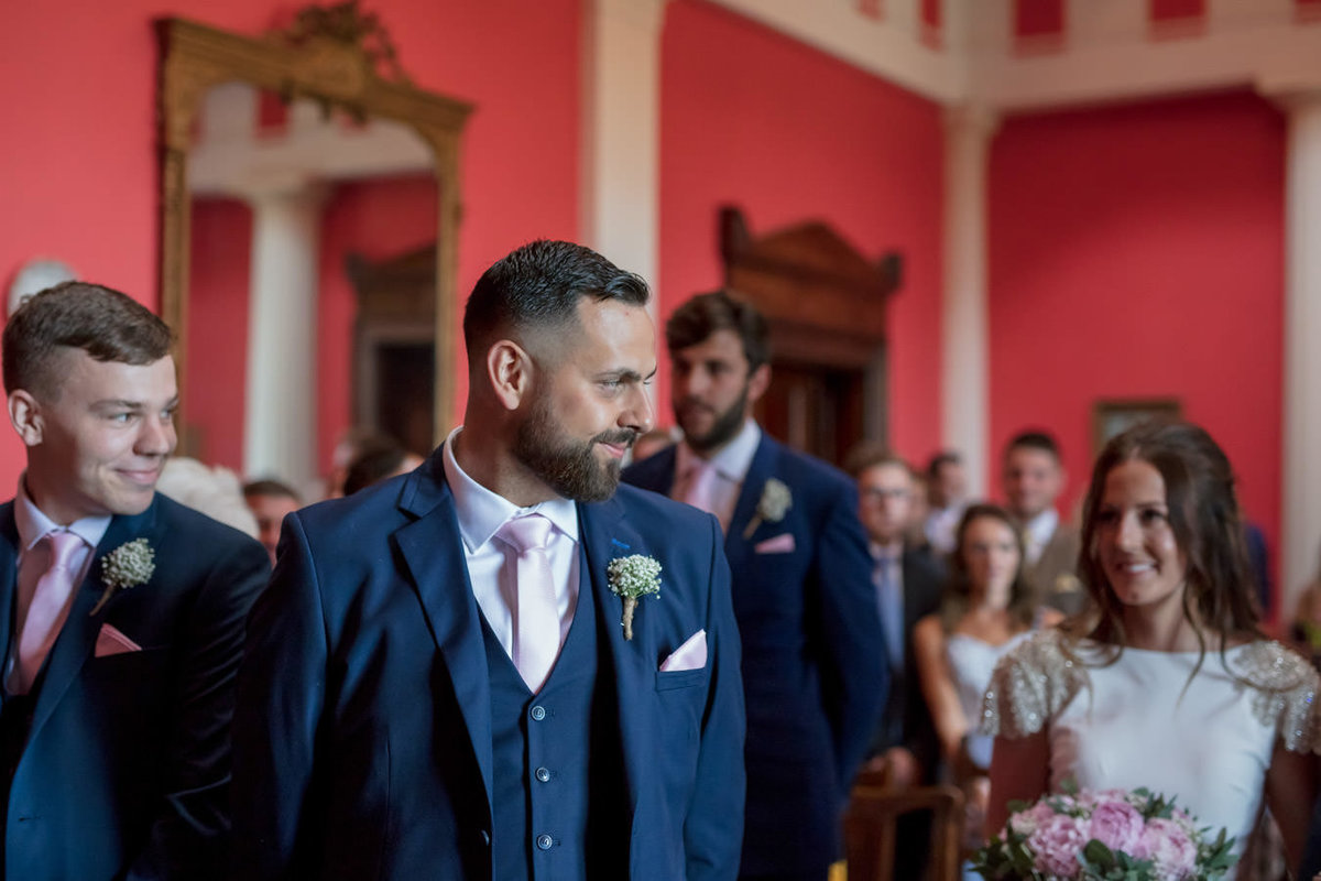 Groom waiting for Bride at Buckland House Wedding in Devon