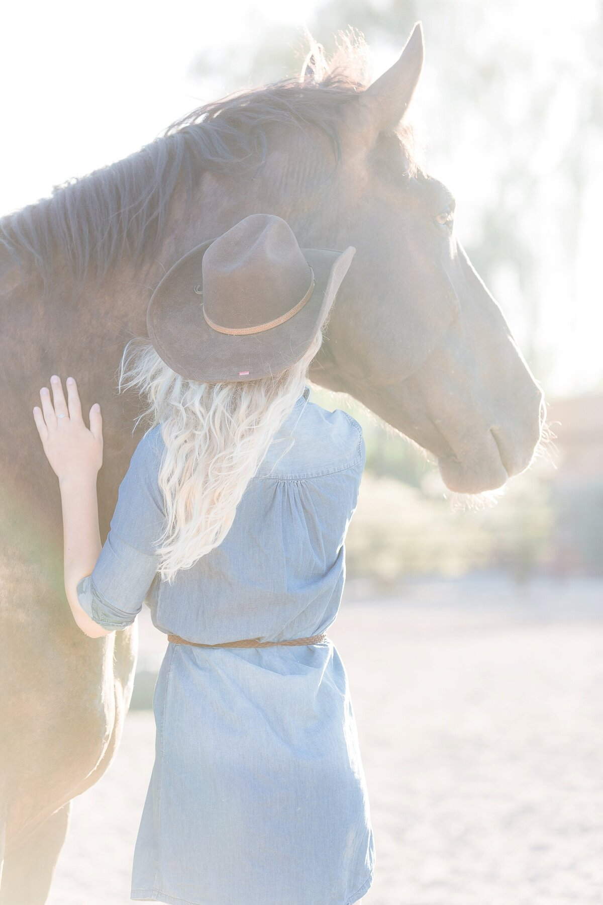Cowgirl with a black draft horse looking at him