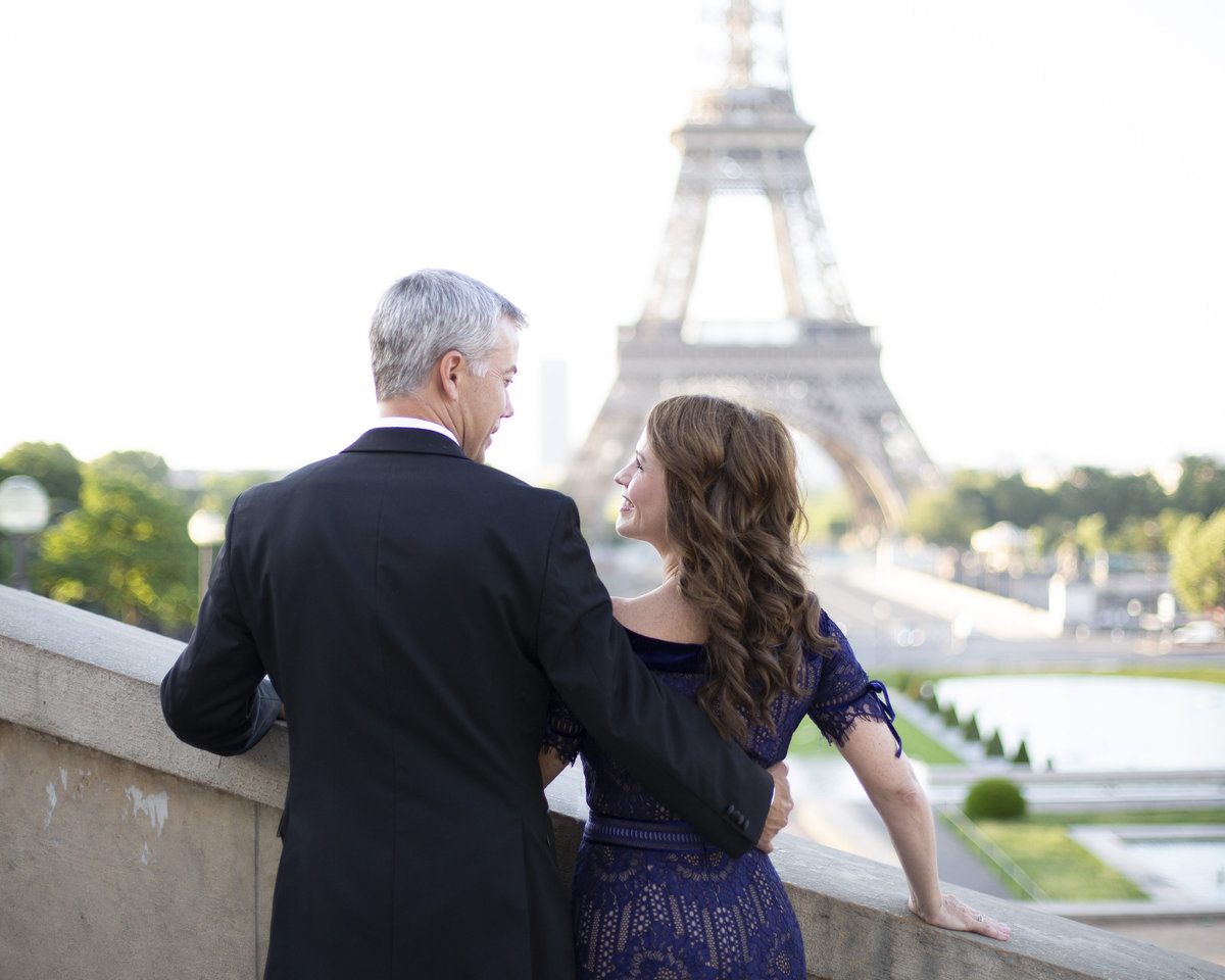 Elegant couple in front of Eiffel Tower 56