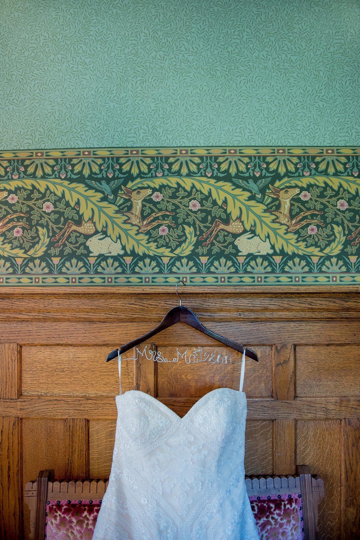 Wedding dresses and old fashioned wallpaper, boho vintage wedding vibes. Green and pink. KrisKandel.com