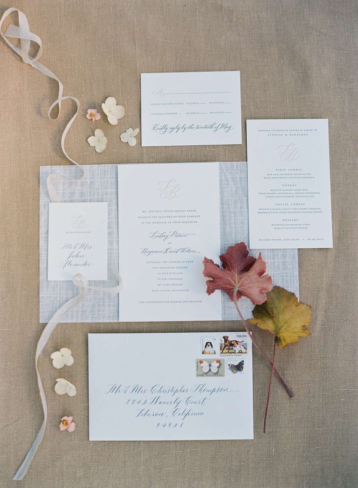 Invitation for wedding by Jenny Schneider Events in Napa Valley, California. Photo by Eric Kelley Photography.
