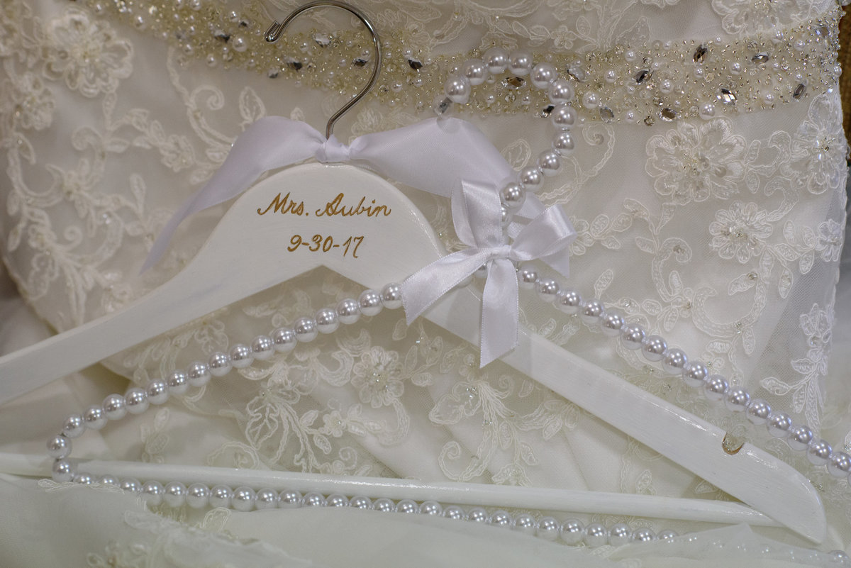 Fort William Henry, Lake George, NY, hand-painted wedding gown hanger, pearl and ribbon wedding gown hanger