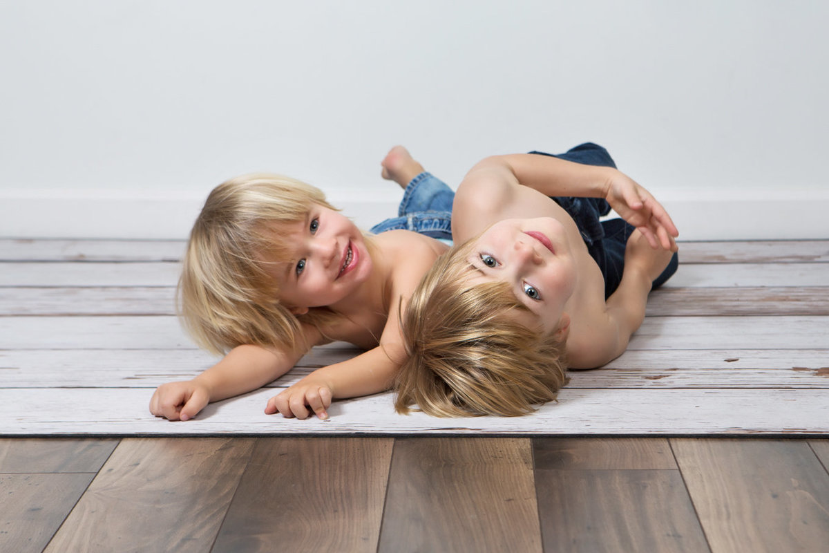 Family of Two Boys Studio Hardwood Floor