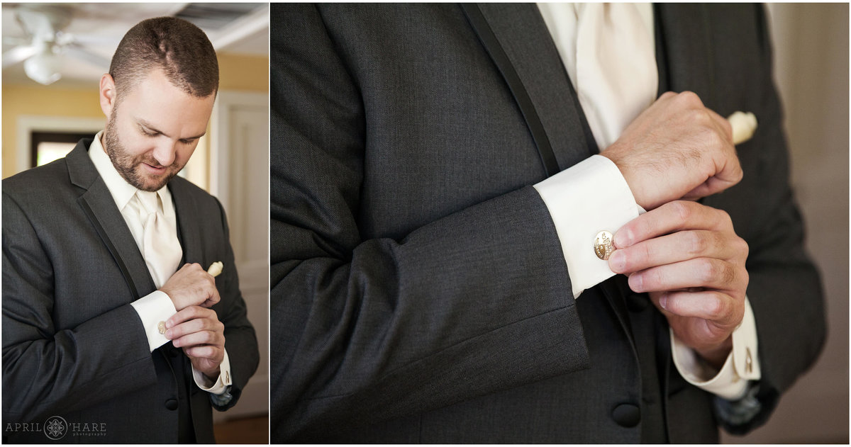 Groom with cufflinks Boulder Colorado Wedding Photography