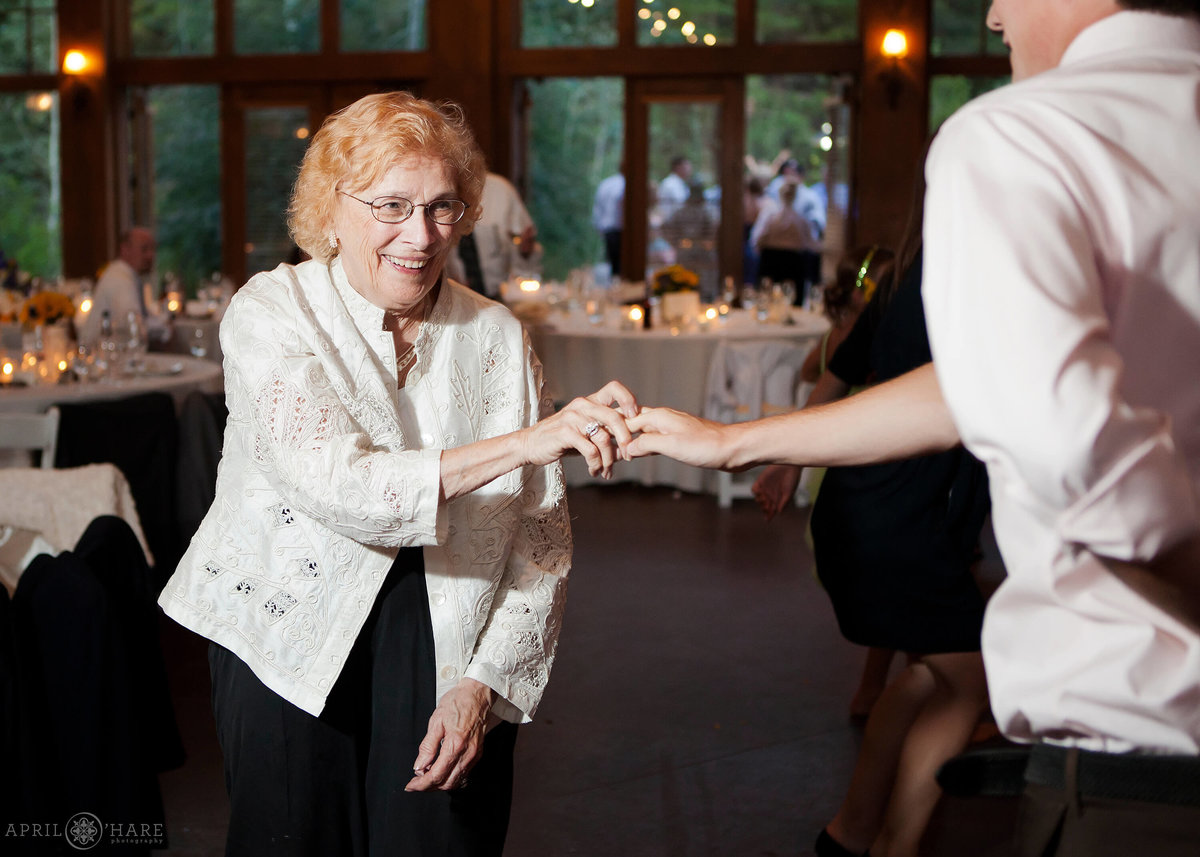 Vail Colorado Donovan Pavilion Wedding Reception Grandma Dancing