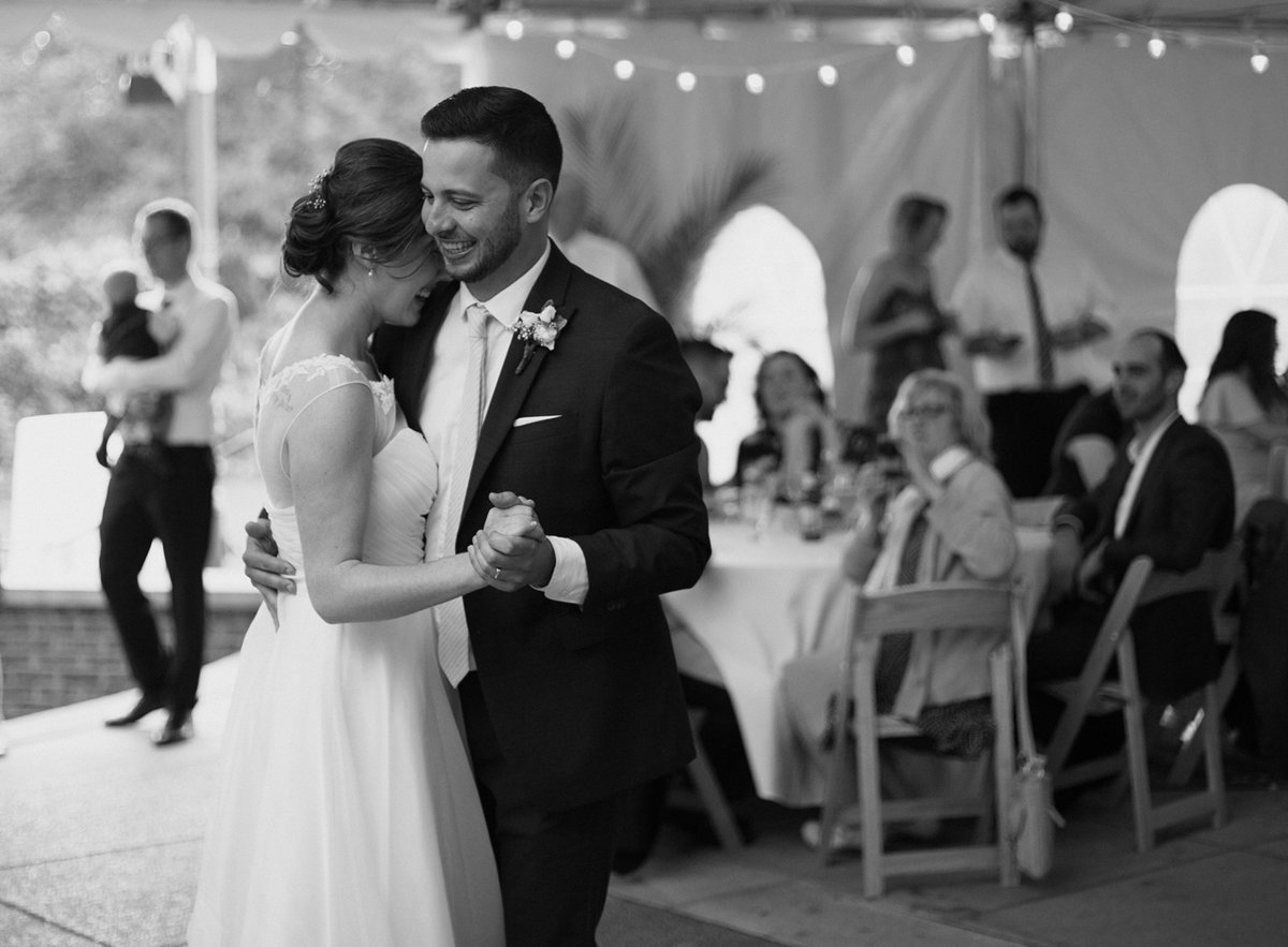 Bride and Groom share first dance at National Aviary wedding reception in Pittsburgh, PA