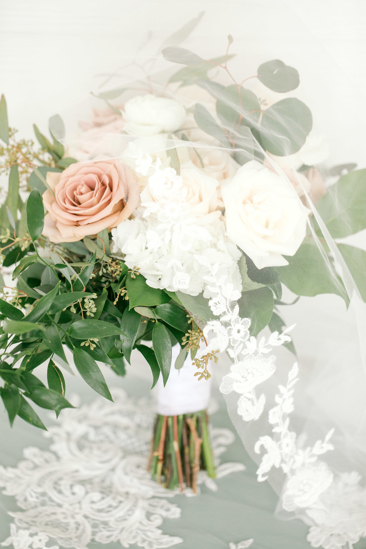 pink white and green wedding bouquet