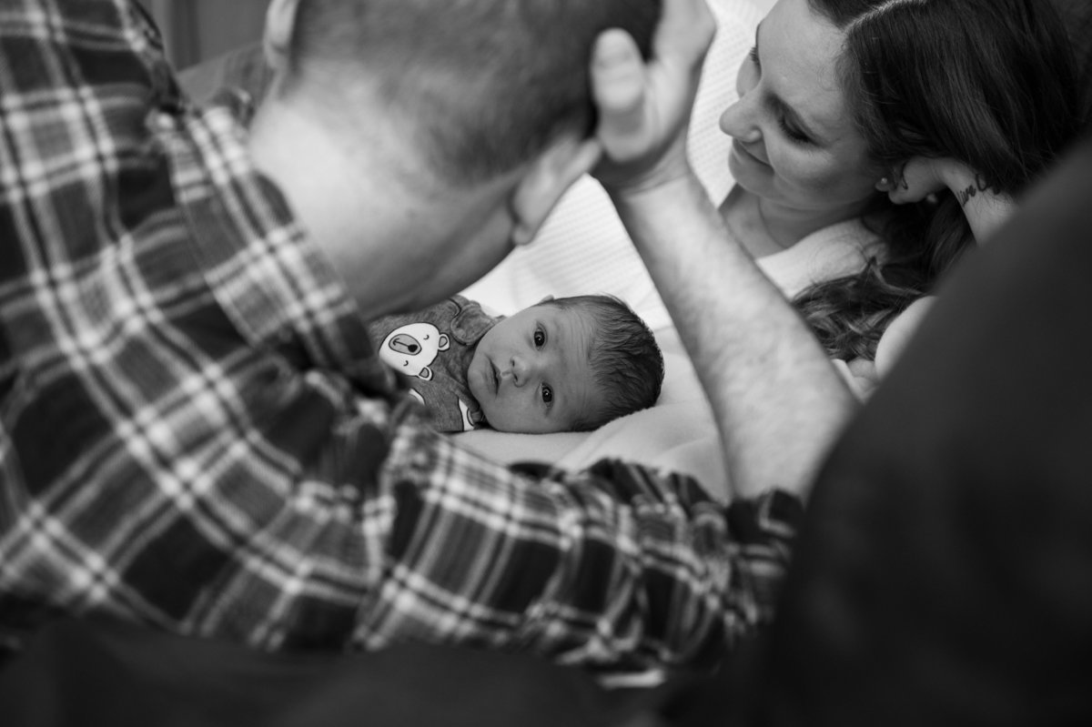 newborn documentary in home session black and white