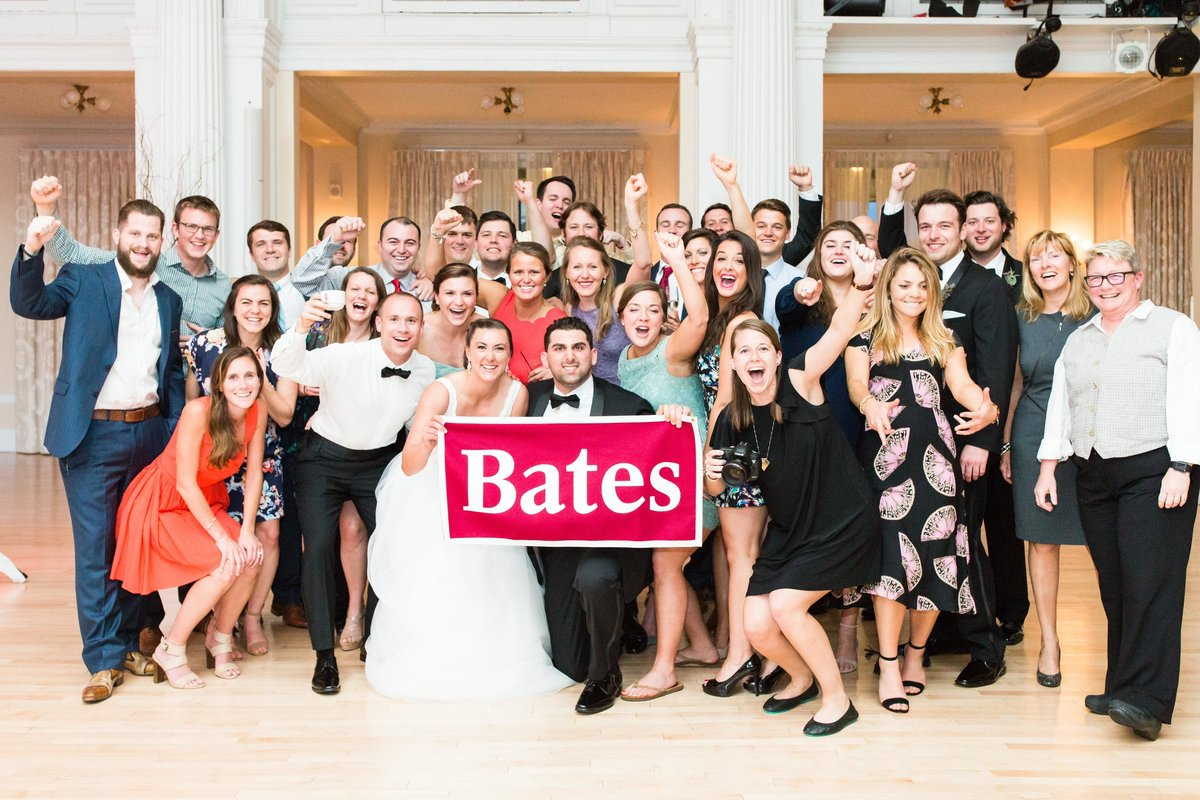 Bates College photo with bride and groom