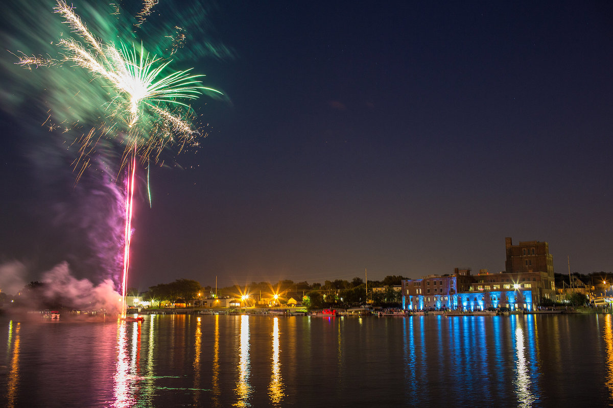 prairie brewing company fireworks along rock river in rockford illinois