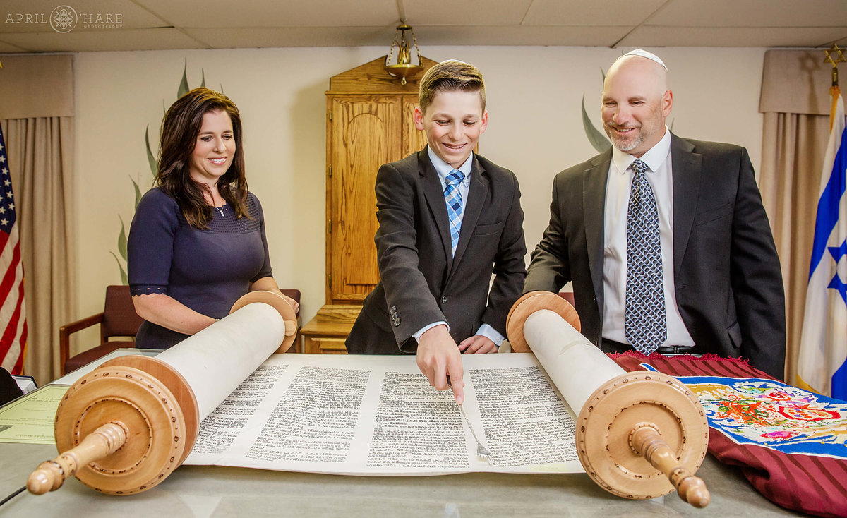B'Nai Chaim Torah Reading Bar Mitzvah Photography in Denver