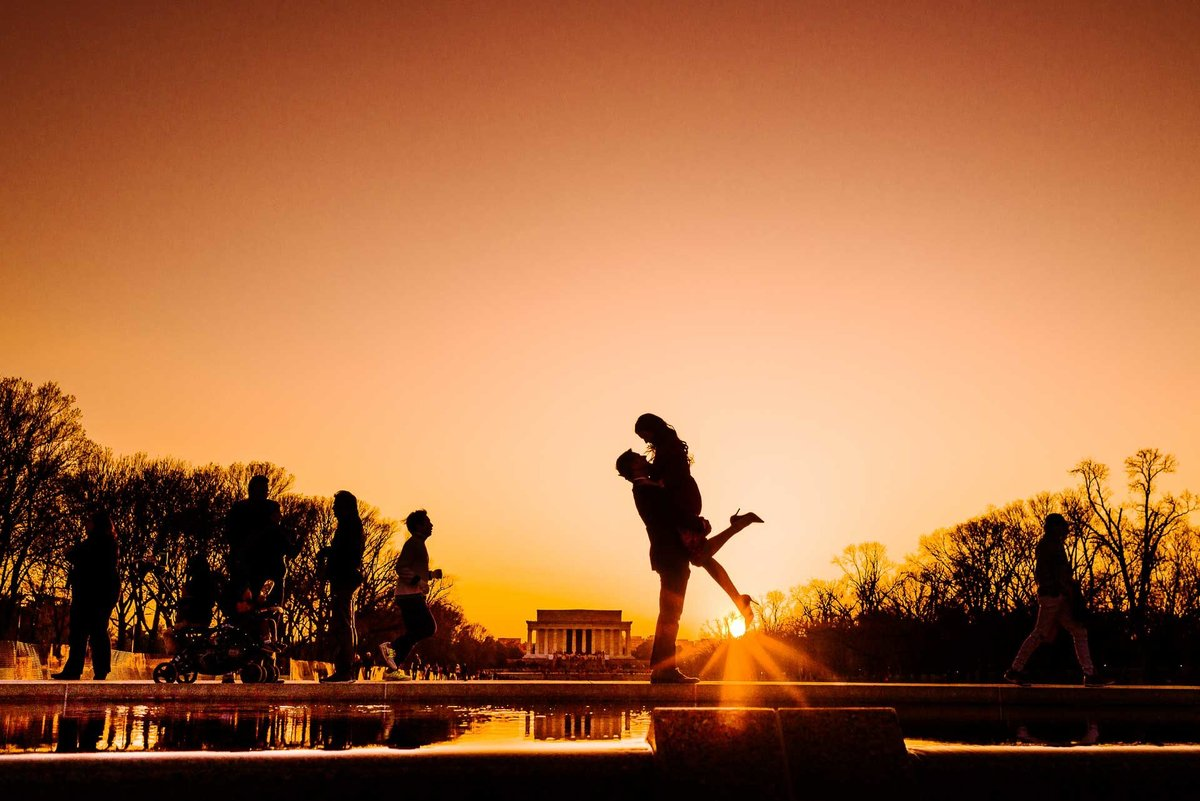 engagement photo at Lincoln Memorial Reflecting Pool in washington dc  by stephane lemaire photography