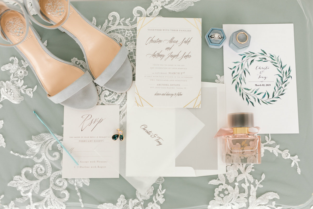 wedding shoes and stationery layflat