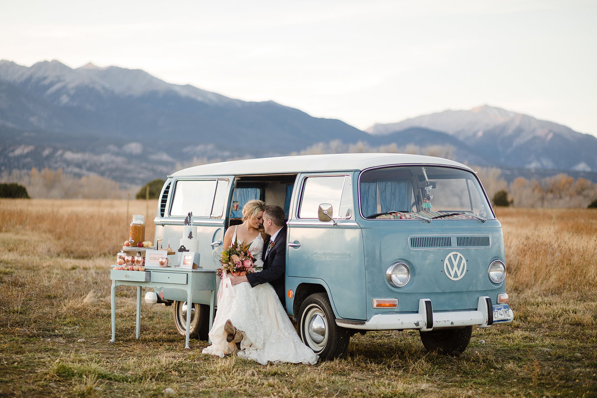 Everett Ranch Rocky Mountain Wedding Outdoor Barn Rustic Salida Colorado Alpaca Collegiate Peaks Vintage Ranch Fish Volkswagon Bus Powder Blue Copper 003