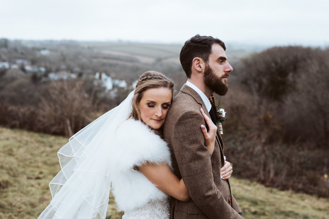 Bride and Groom Winter Wedding in Cornwall