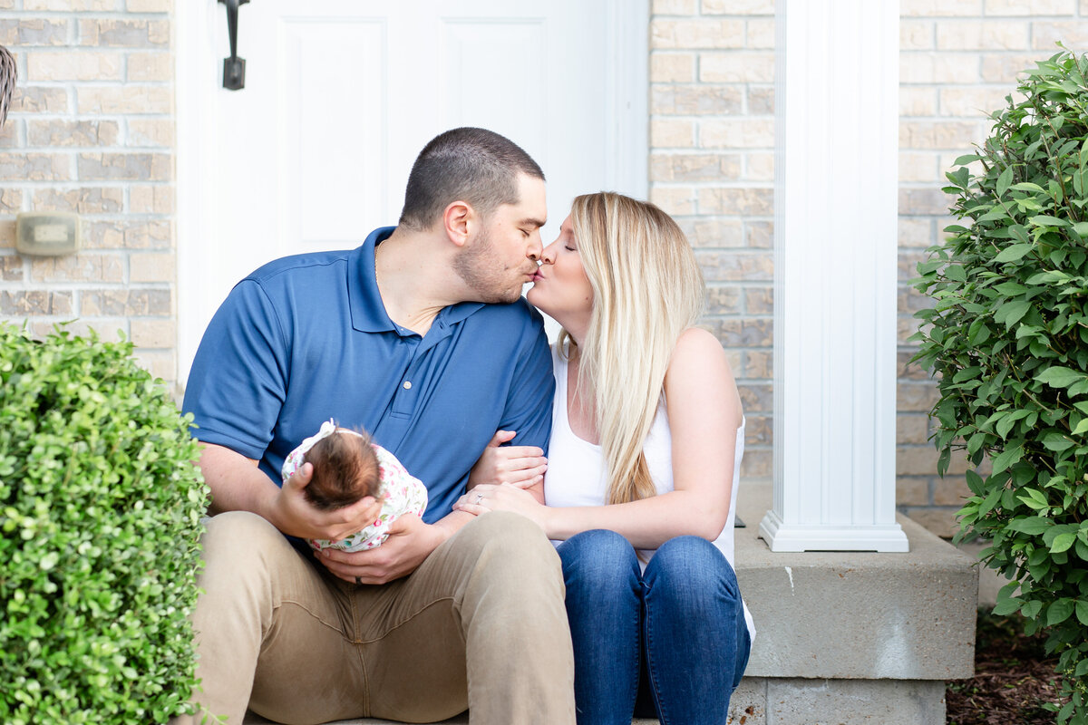 Spring Lifestyle Newborn  Session on front porch  in St. Louis by Amy Britton Photography Photographer  in St. Louis