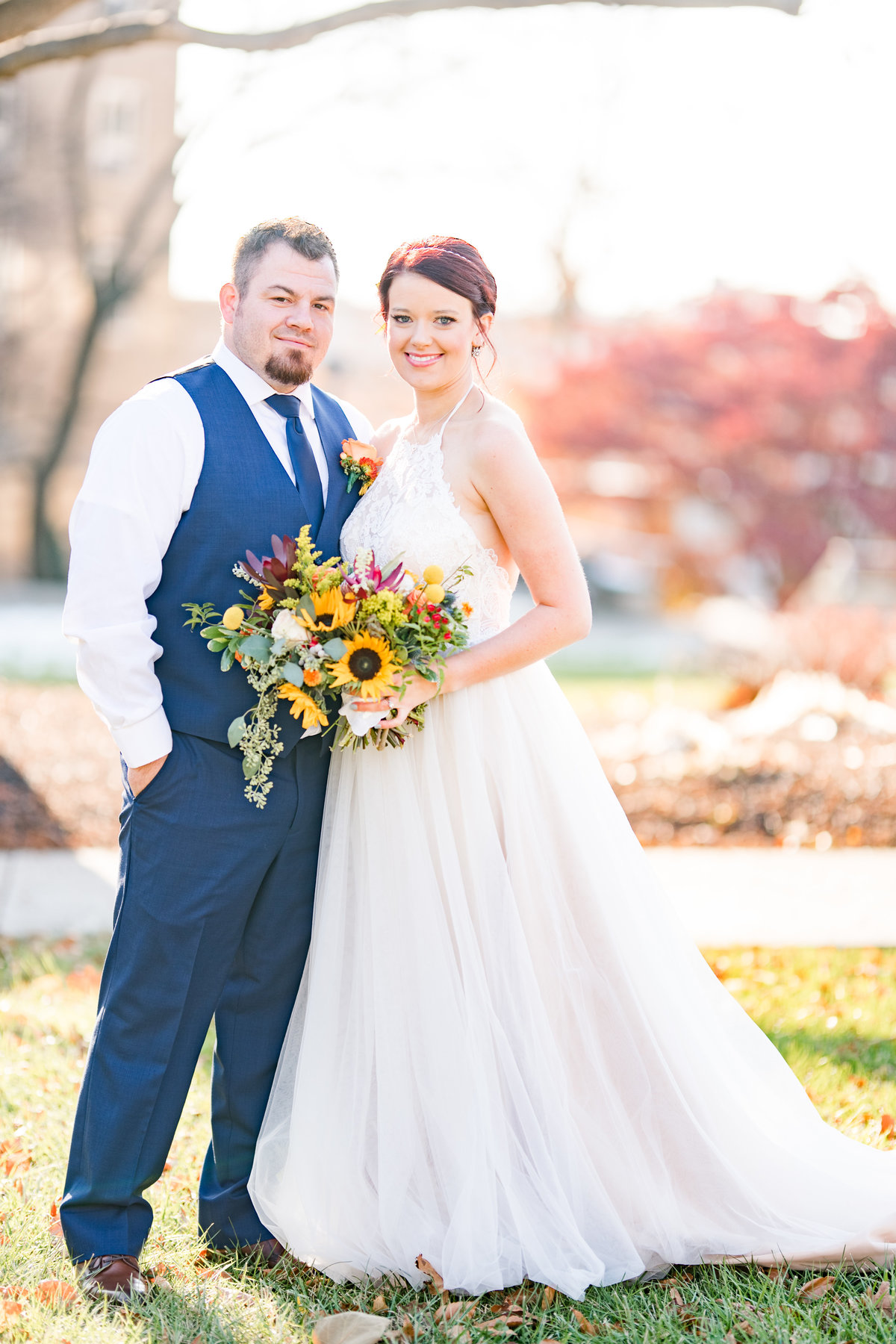 Couple Portraits Wedding Brewery Cincinnati Ohio Colorful Flowers-51