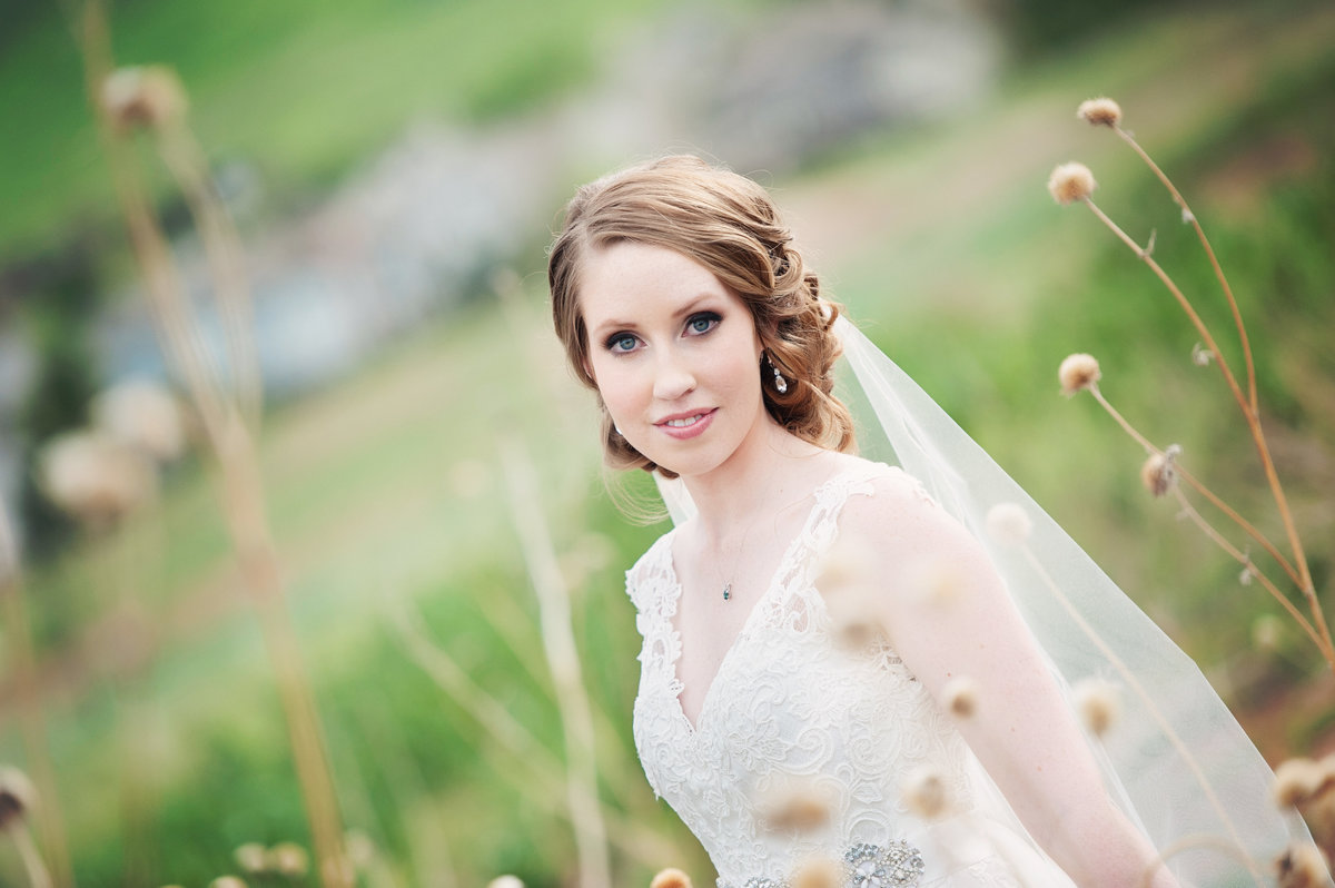 Bridal portrait in field