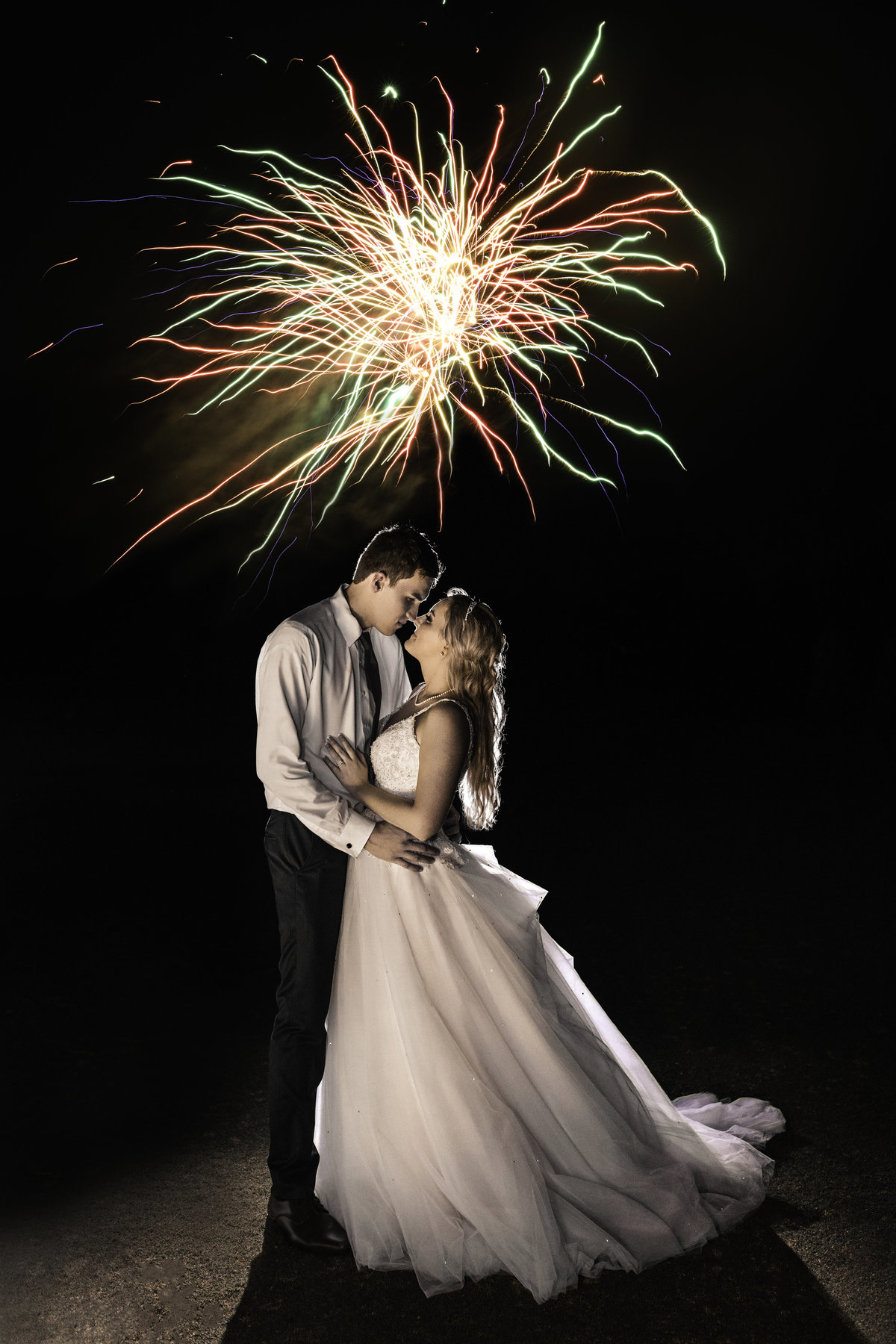 bride and groom firework exit