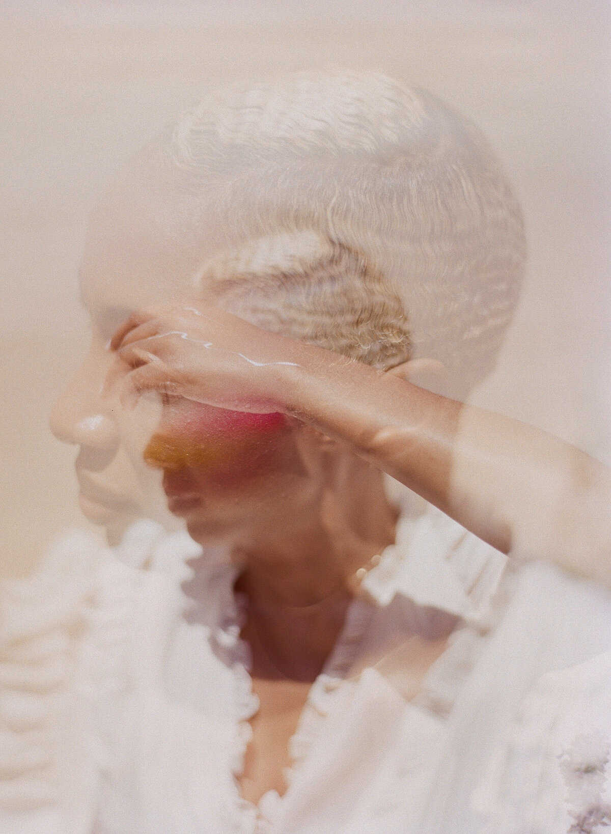 Double exposure film image of beautiful black woman in white dress