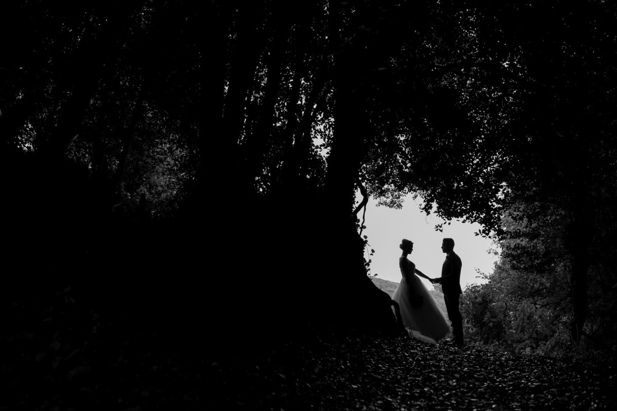 silhouette photo of couple at The Green Weddings in Cornwall