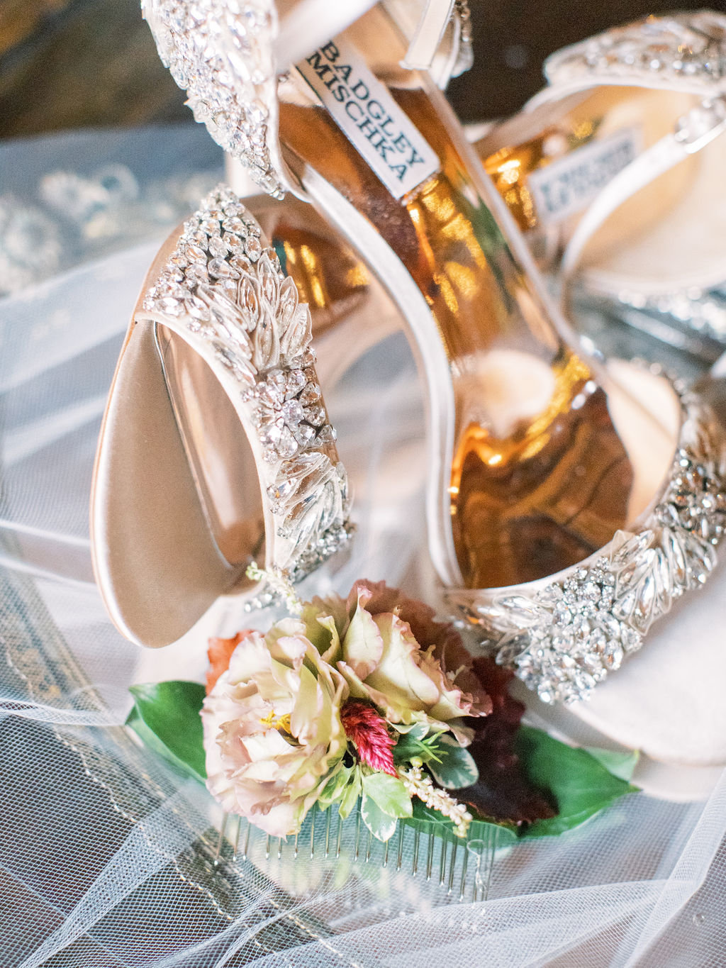 bride wedding shoes floral hair comb