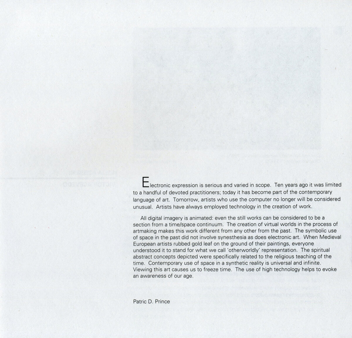 ART 1990 page 06 Curator's Statement Patric Prince