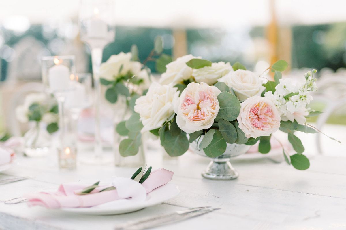 Low Compote Arrangement of Pink Juliet Garden Roses Greenery and White Florals