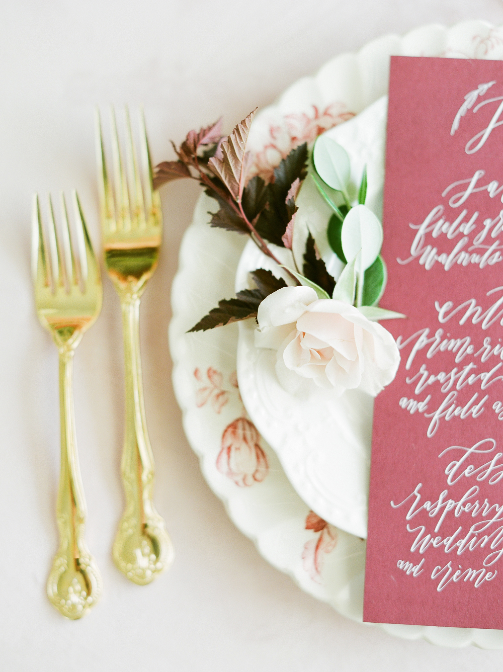Burgundy and Blush Wedding Inspiration Styled Shoot Gold Flatware