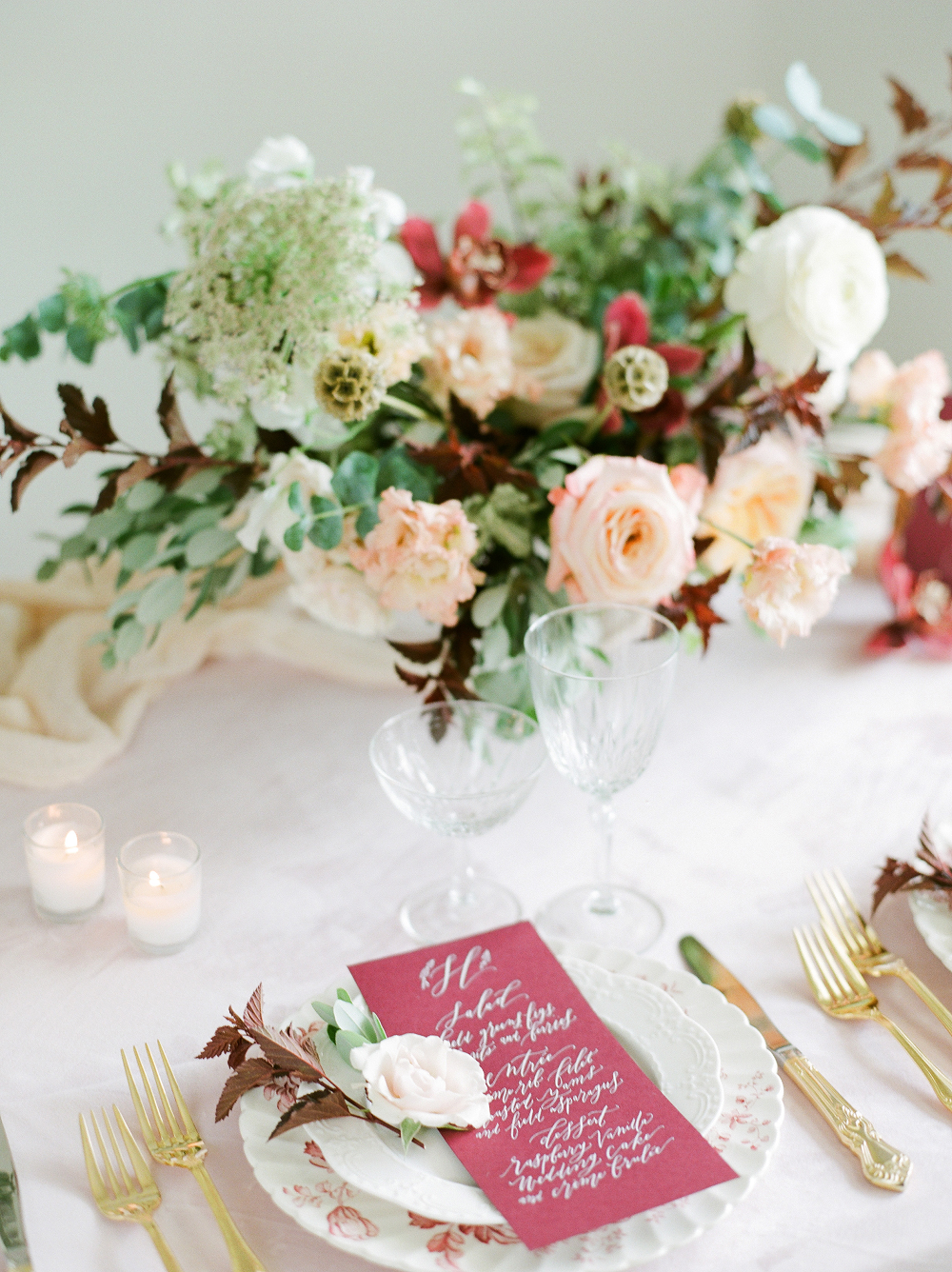 Burgundy and Blush Wedding Inspiration Styled Shoot Floral Centerpiece